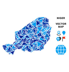 Blue triangle niger map vector