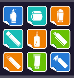 bottles of cosmetic products on stickers vector image