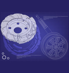 Brake disk and wheel with shock absorber on a blue vector