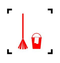 broom and bucket sign red icon inside vector image
