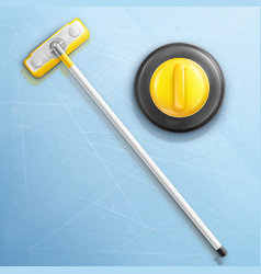 Broom and stone for curling sport game vector