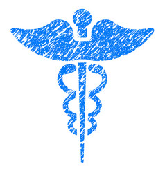 caduceus grunge icon vector image