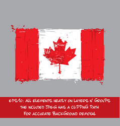 Canadian flag flat - artistic brush strokes and vector