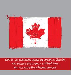canadian flag flat - artistic brush strokes vector image