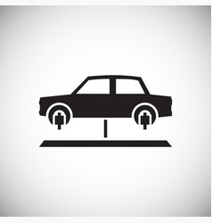 Car lift service procedure on white background for vector