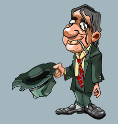 cartoon homeless man in suit with tie asks vector image