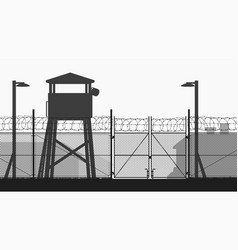 Chain fence and guard tower at military base vector
