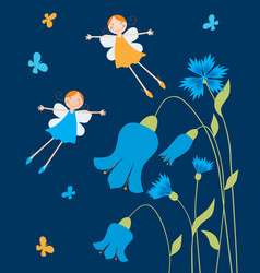 Cheerful elves girls flying over flowers vector