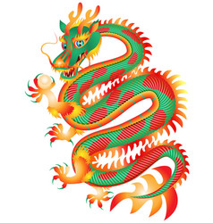 Chinese red and green dragon with a pearl vector