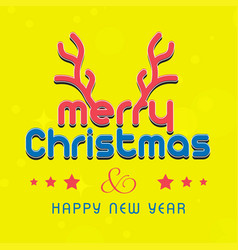christmas card with yellow background vector image