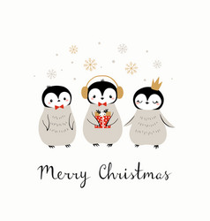 Christmas cute penguin greeting card vector