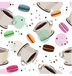 Coffee and macaron seamless pattern vector