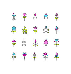 Collection abstract flower elements vector
