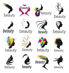 collection of logos beautiful female face vector image