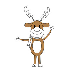 Color silhouette image cartoon full body reindeer vector