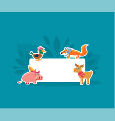 cute animals holding empty banner pig duck fox vector image