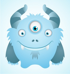 Cute blue monster vector