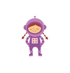 cute child girl astronaut or space traveler vector image