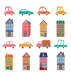 Cute city collection with houses and cars vector