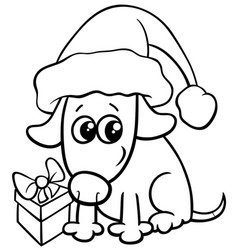 cute dog on christmas coloring book vector image
