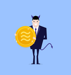 Devil businessman holding libra coin in hand vector