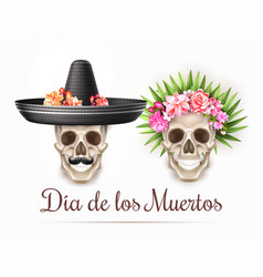 Dia de los muertos day of dead skull flower vector