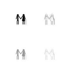 elder people stick black and grey set icon vector image