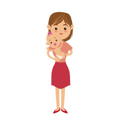 family mother carrying her baby cute image vector image
