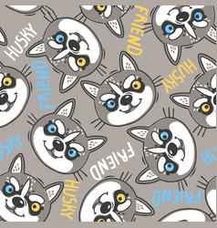 fashionable seamless pattern with dogs husky noses vector image