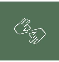 Finger language icon drawn in chalk vector