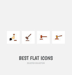 Flat icon lawyer set of defense tribunal hammer vector