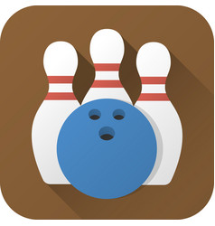 flat icon toy bowling ball and pins vector image
