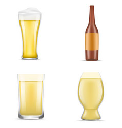 german beer icon set realistic style vector image