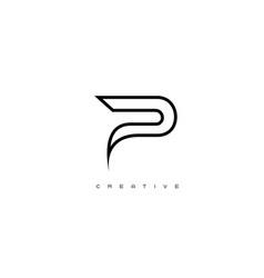 gold letter p logo p letter design vector image