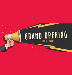 grand opening banner with megaphone and vector image