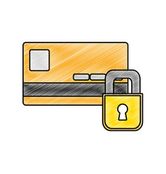 Grated finance credit card with padlock close vector