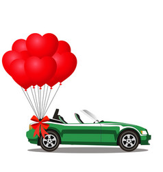 green opened cartoon cabriolet car with heart vector image