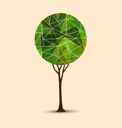 green tree abstract geometric design vector image