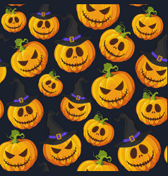 halloween pumpkin seamless pattern on black vector image