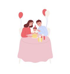 Happy family celebrating baby first birthday vector