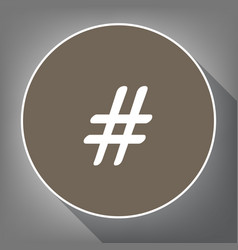 hashtag sign white icon on vector image