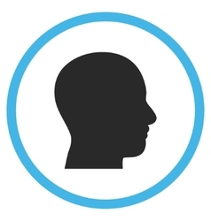 Head Profile Flat Rounded Icon vector image