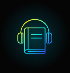 headphones with book colorful icon vector image