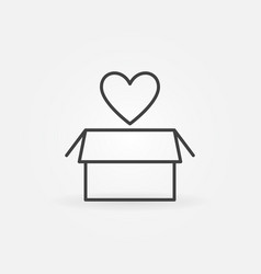 Heart with box simple donation outline icon vector