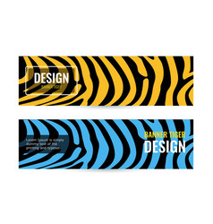 horizontal blue and orange banners with stripes on vector image