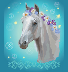 horse portrait with flowers8 vector image