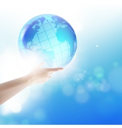Human holding globe vector image