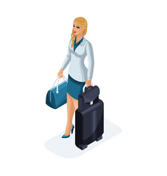 Isometric of a beautiful woman on a business trip vector