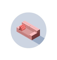 isometric pink sofa seat couch 3d flat interior vector image