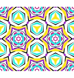 Kaleidoscopic Yellow Blue Flower Pattern vector image